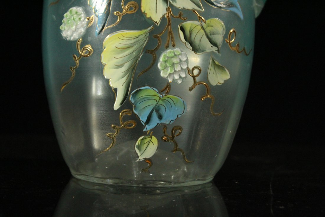 Victorian Water Pitcher With Enameled Berries & Leaves - 4