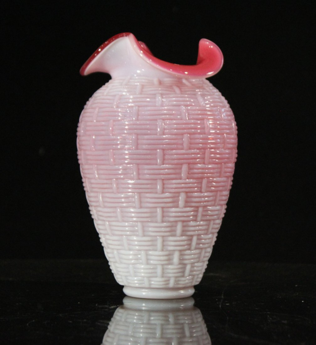 CASED GLASS VASE with Braided Weave Embossed Design