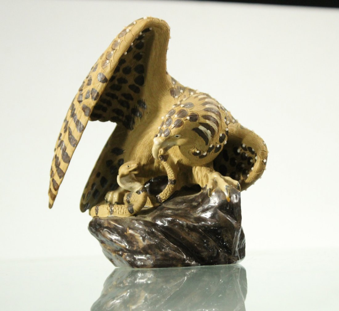 HAWK ATTACKING SNAKE Art Pottery Figure Grouping