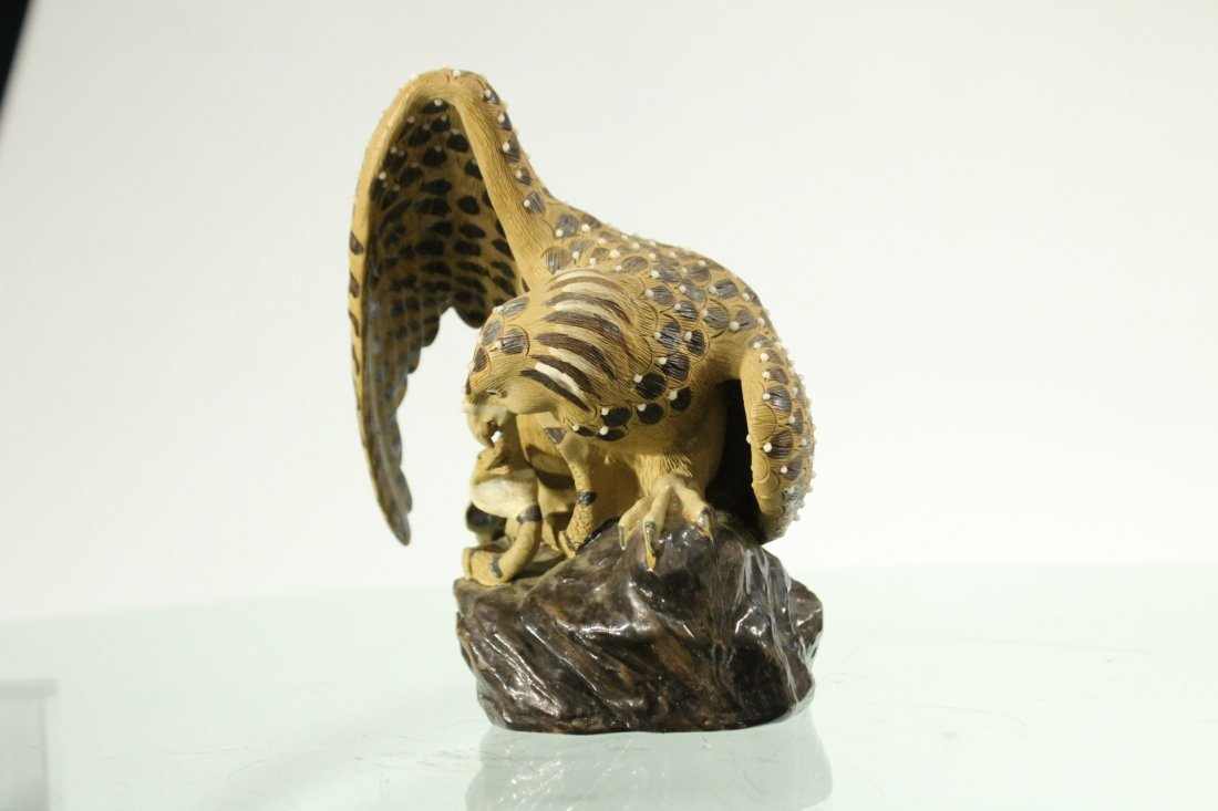 HAWK ATTACKING SNAKE Art Pottery Figure Grouping - 5