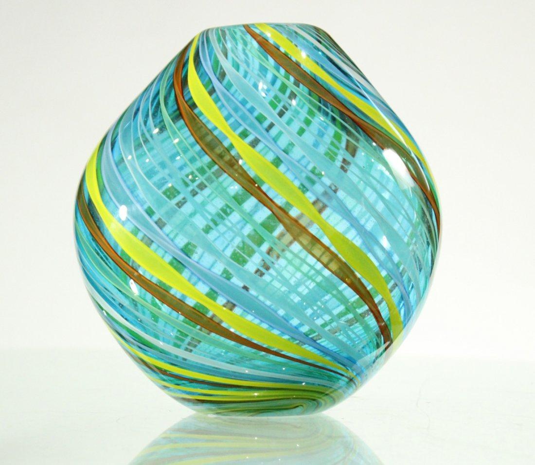Superb Quality ITALIAN ART GLASS VASE Threads Pattern