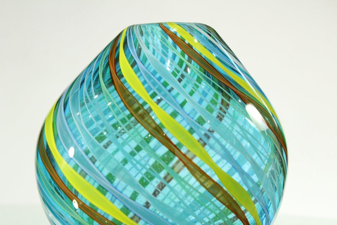 Superb Quality ITALIAN ART GLASS VASE Threads Pattern - 2