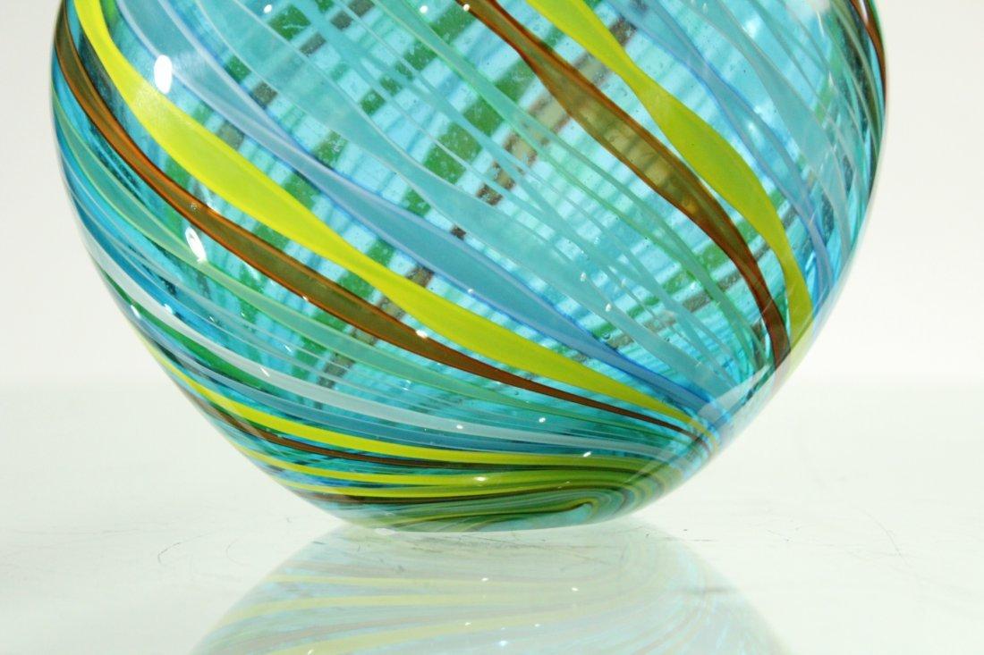 Superb Quality ITALIAN ART GLASS VASE Threads Pattern - 3