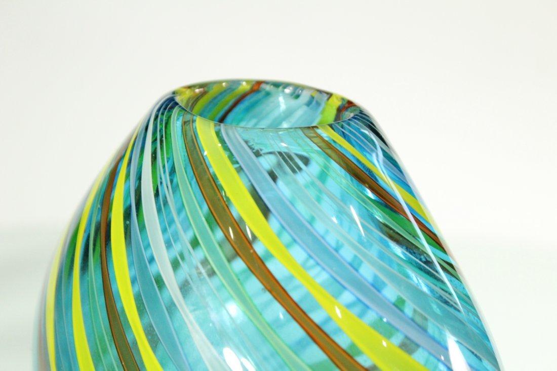 Superb Quality ITALIAN ART GLASS VASE Threads Pattern - 4