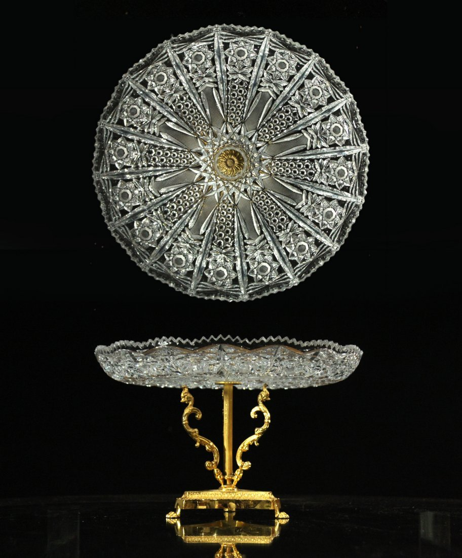 Exquisite CUT GLASS CAKE DISH Mounted on Bronze Base