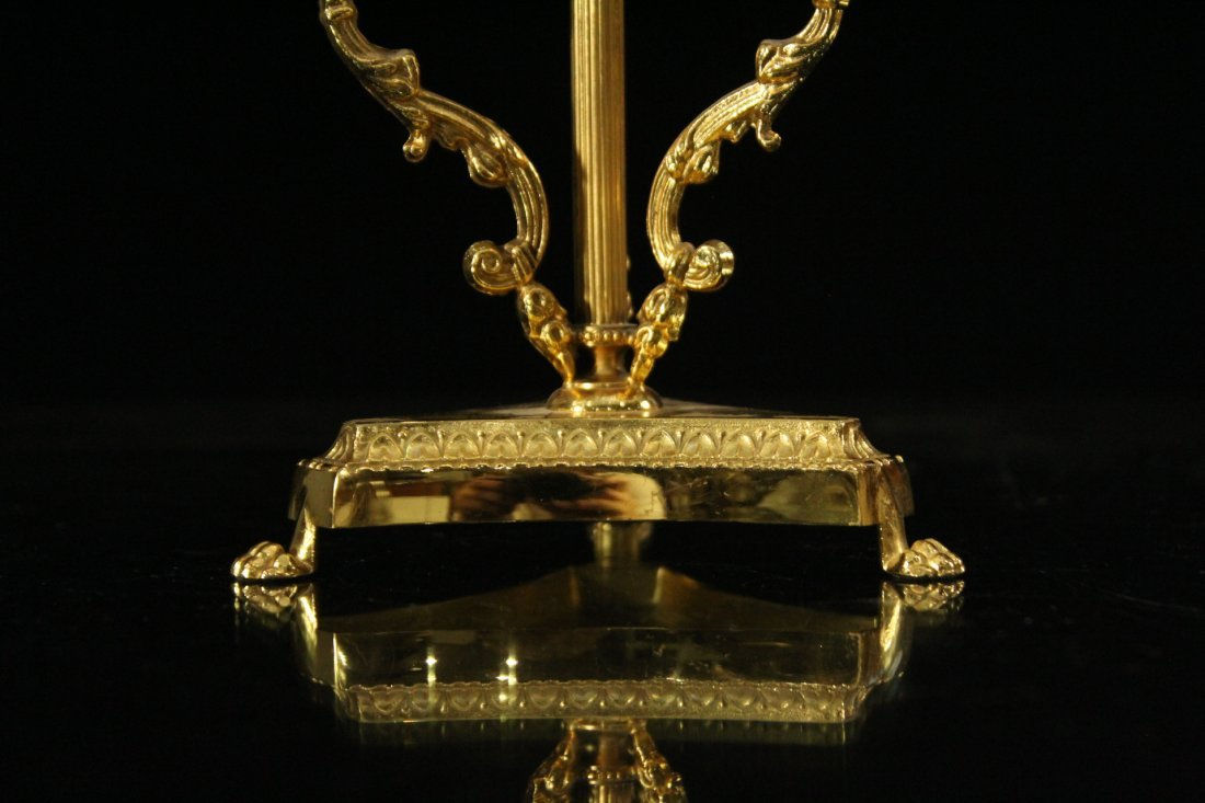 Exquisite CUT GLASS CAKE DISH Mounted on Bronze Base - 2