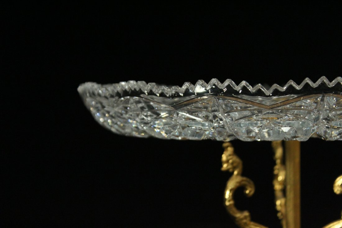 Exquisite CUT GLASS CAKE DISH Mounted on Bronze Base - 4
