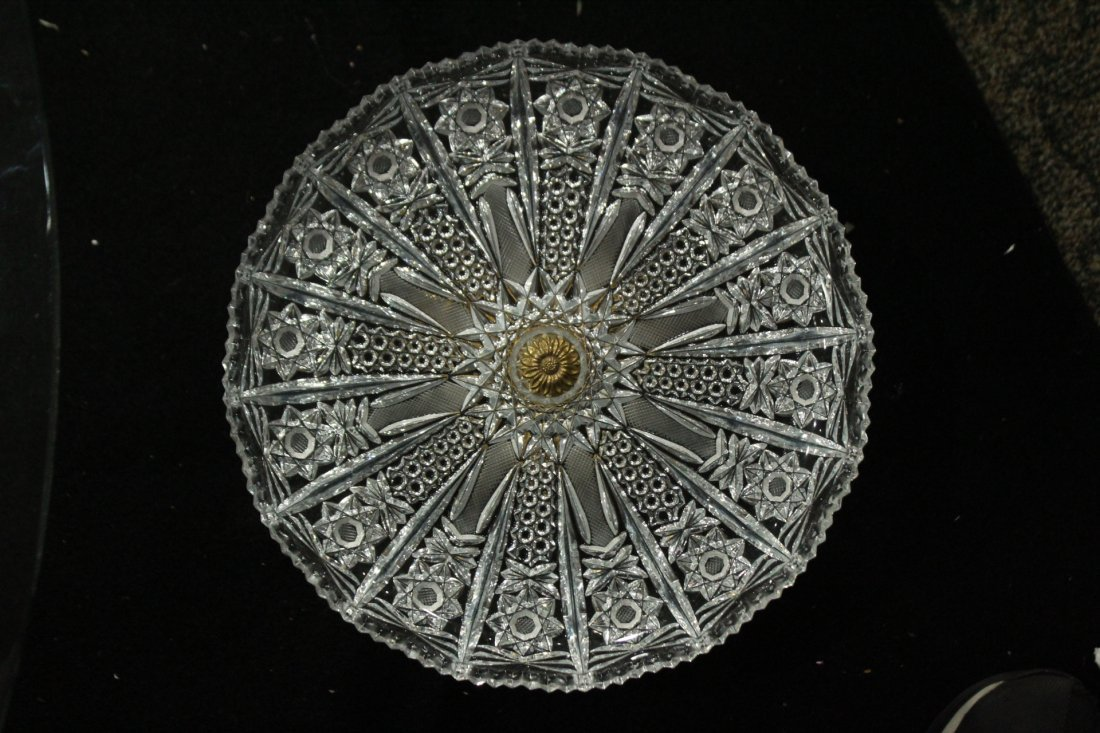 Exquisite CUT GLASS CAKE DISH Mounted on Bronze Base - 5