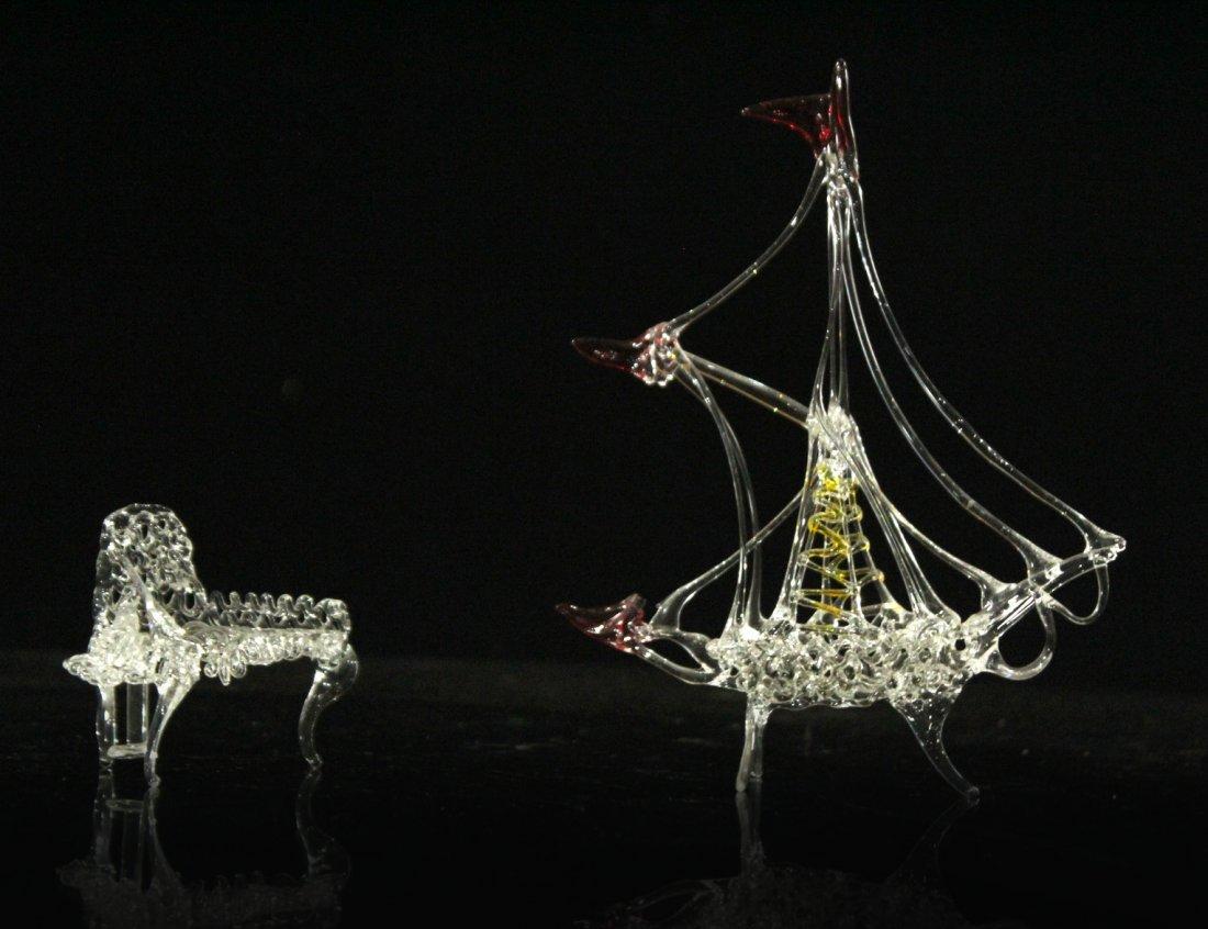 Two [2[ Pieces HANDBLOWN STUDIO GLASS Piano & Ballerina