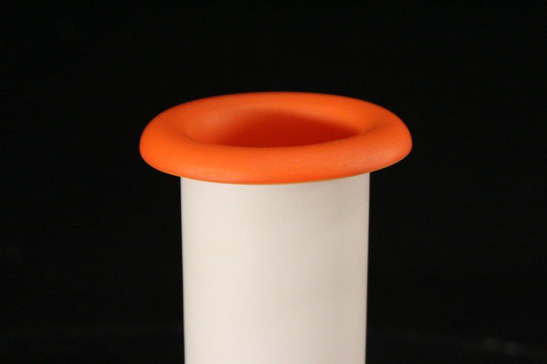 Mid-Century Design WHITE & ORANGE CASED GLASS VASE - 2