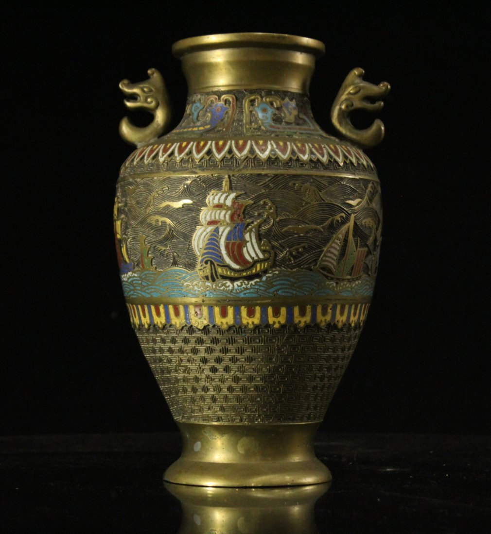 BRONZE CHAMPLEVE URN With Galleon Ship Border