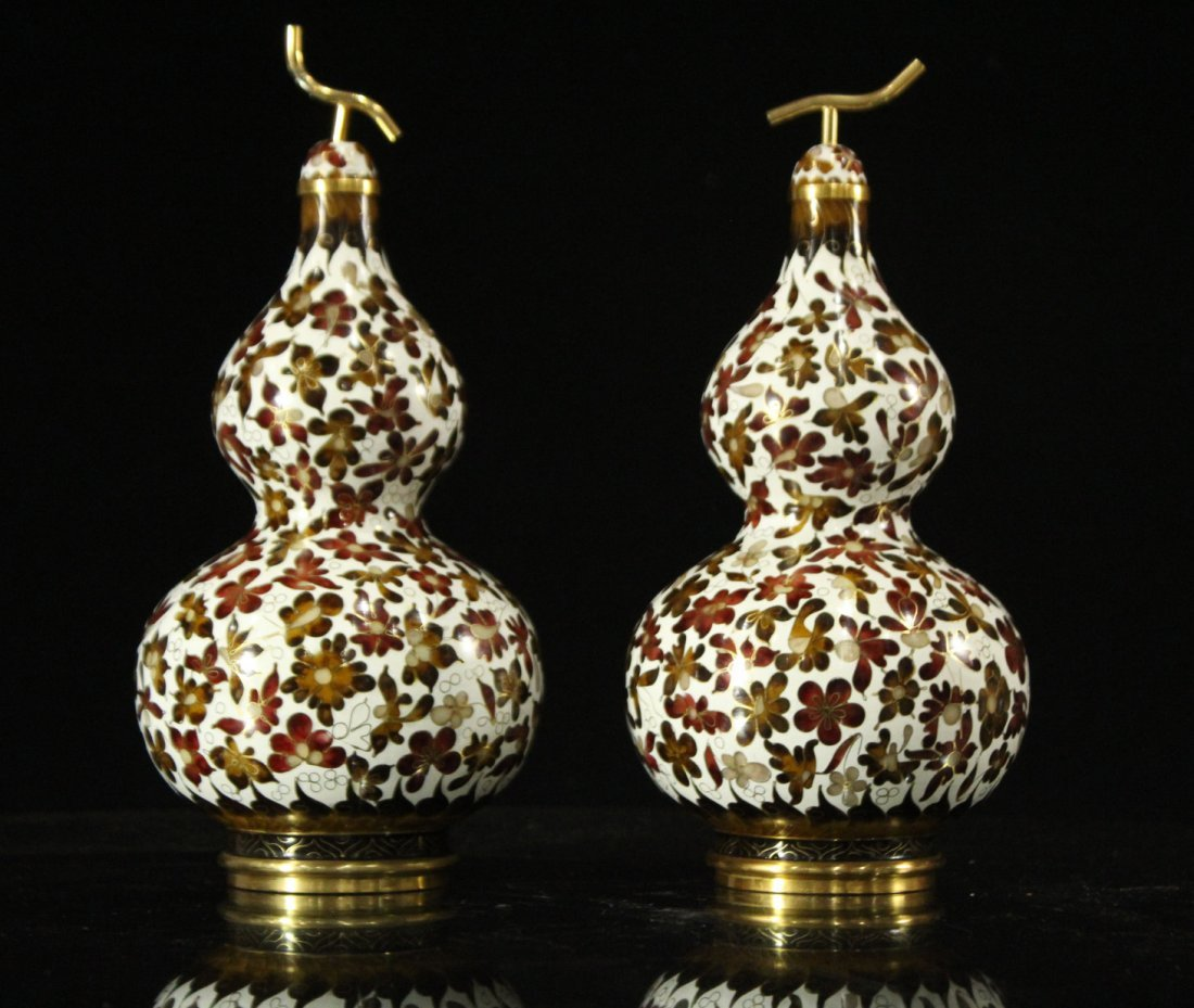 Pair Unusual GOUARD SHAPED CLOISONNE COVERED VASES