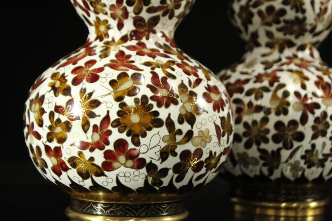 Pair Unusual GOUARD SHAPED CLOISONNE COVERED VASES - 2