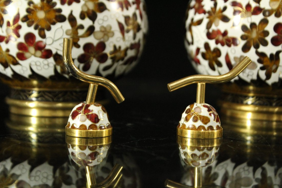 Pair Unusual GOUARD SHAPED CLOISONNE COVERED VASES - 4