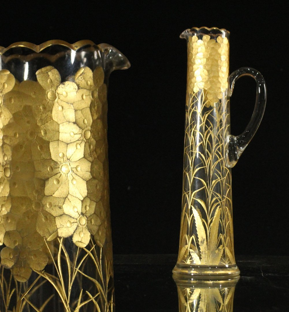 Tall Glass Tankard Pitcher Heavily Gold Decorated