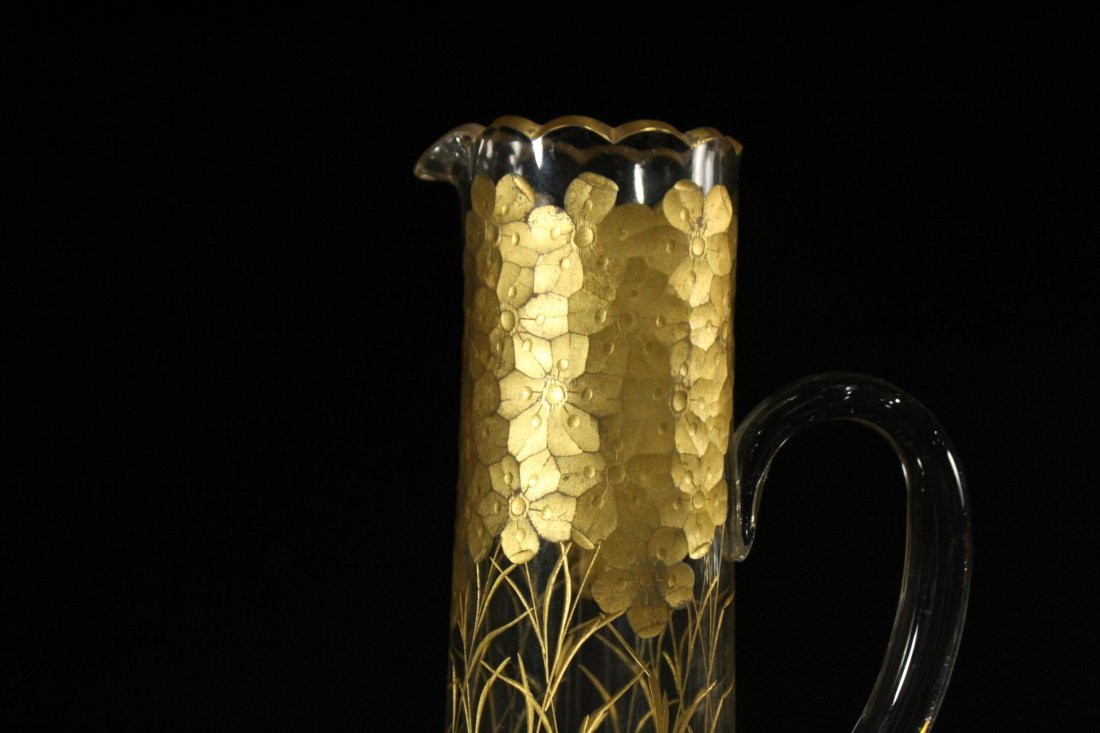 Tall Glass Tankard Pitcher Heavily Gold Decorated - 2