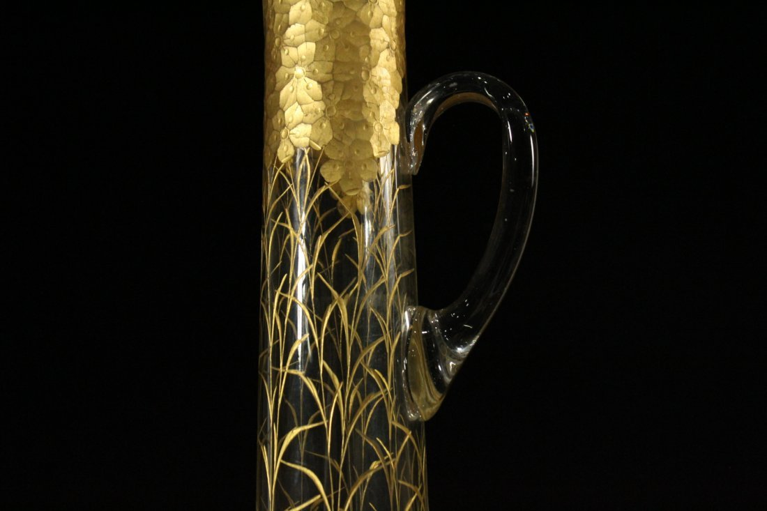 Tall Glass Tankard Pitcher Heavily Gold Decorated - 3