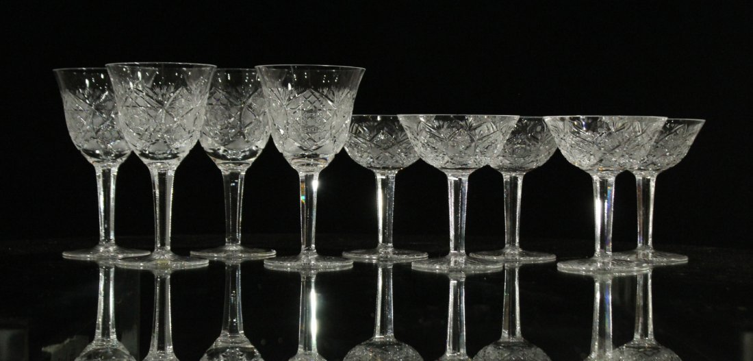 Nine [9] CUT GLASS CRYSTAL STEMWARE Set 4 & Set 5