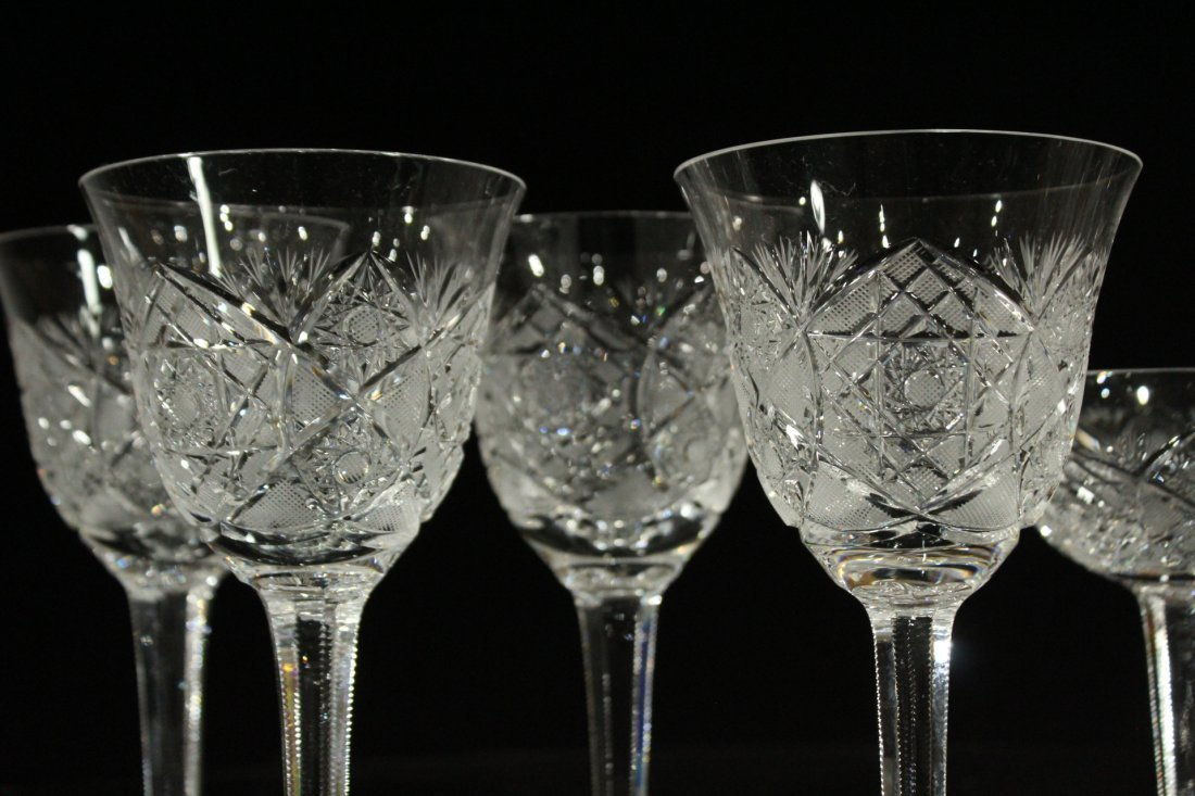 Nine [9] CUT GLASS CRYSTAL STEMWARE Set 4 & Set 5 - 2