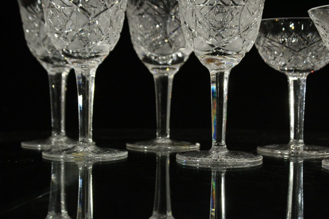Nine [9] CUT GLASS CRYSTAL STEMWARE Set 4 & Set 5 - 4