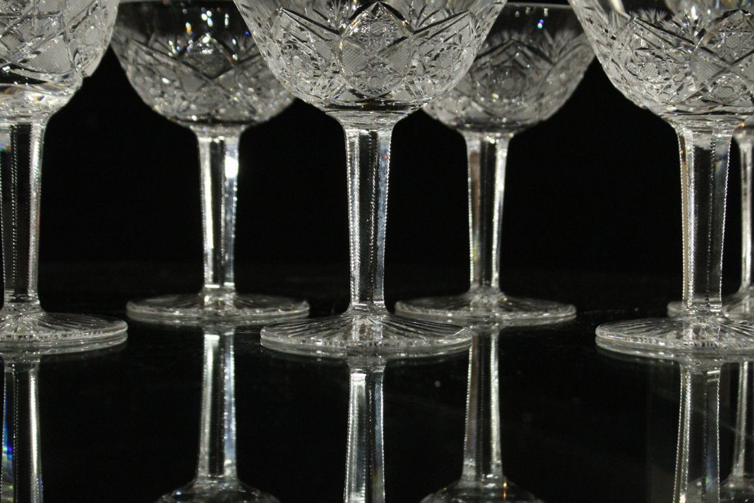 Nine [9] CUT GLASS CRYSTAL STEMWARE Set 4 & Set 5 - 5