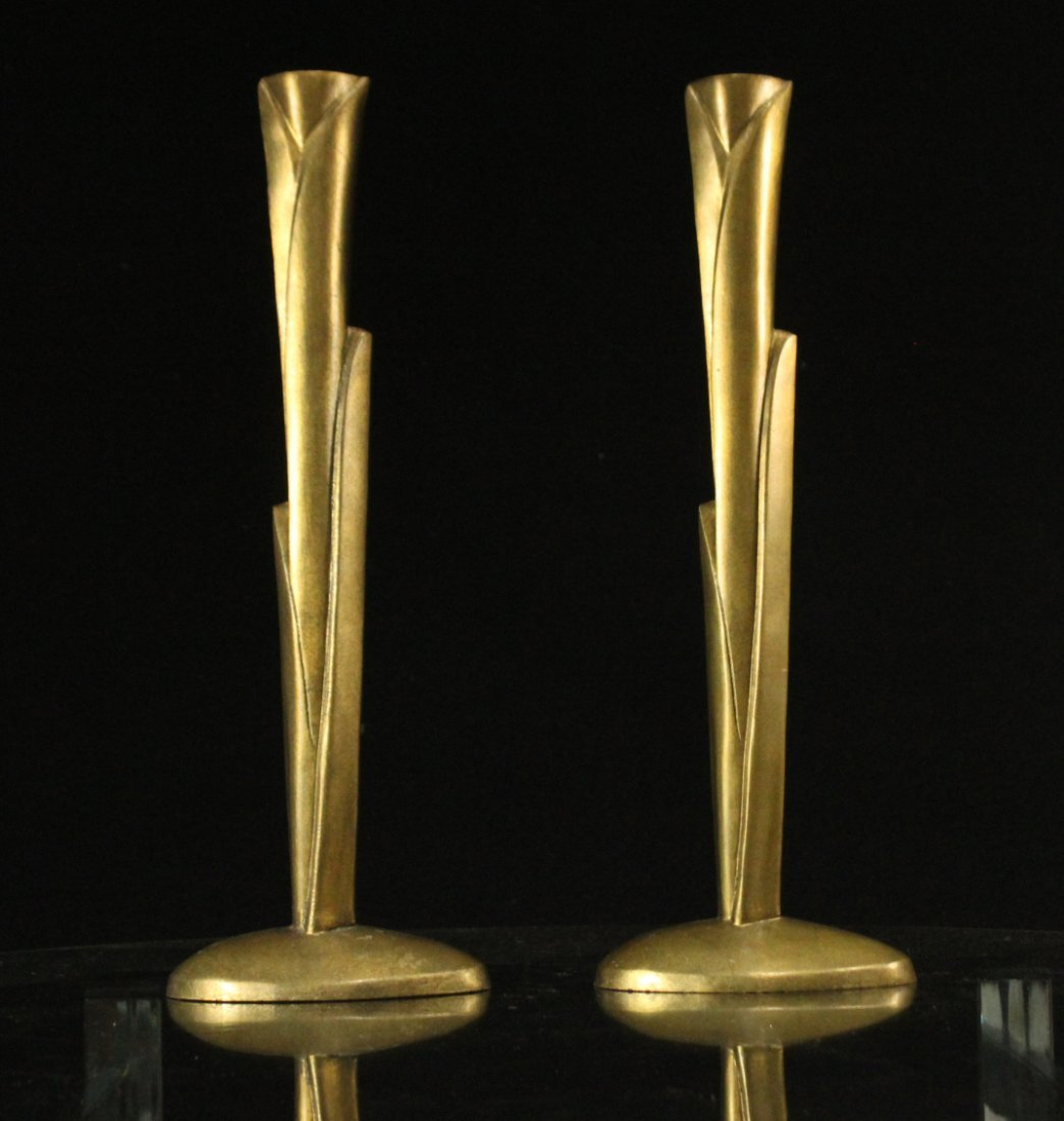 WILLIAM HARVEY Signed Bronze Modern Design Candlesticks