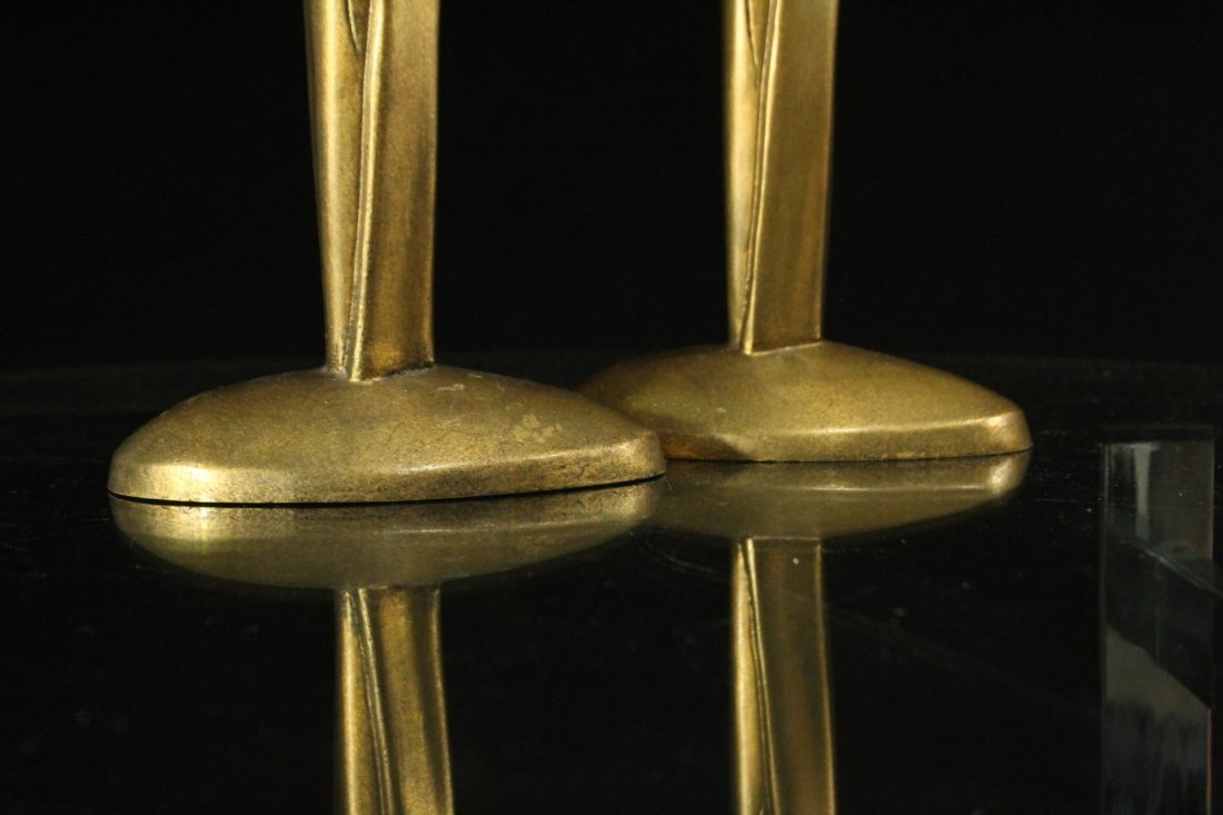 WILLIAM HARVEY Signed Bronze Modern Design Candlesticks - 2