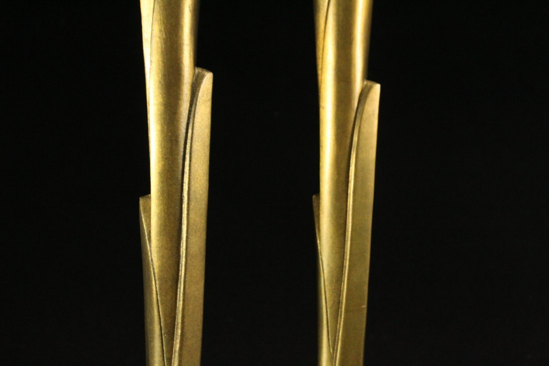 WILLIAM HARVEY Signed Bronze Modern Design Candlesticks - 3
