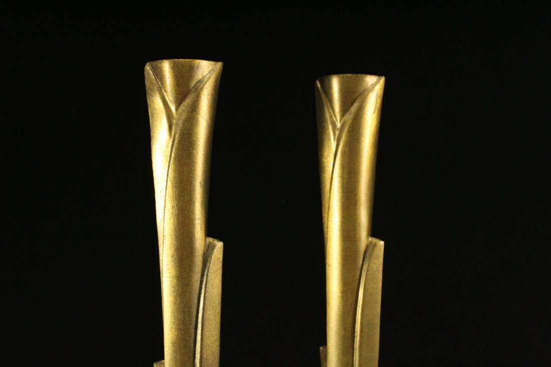 WILLIAM HARVEY Signed Bronze Modern Design Candlesticks - 4
