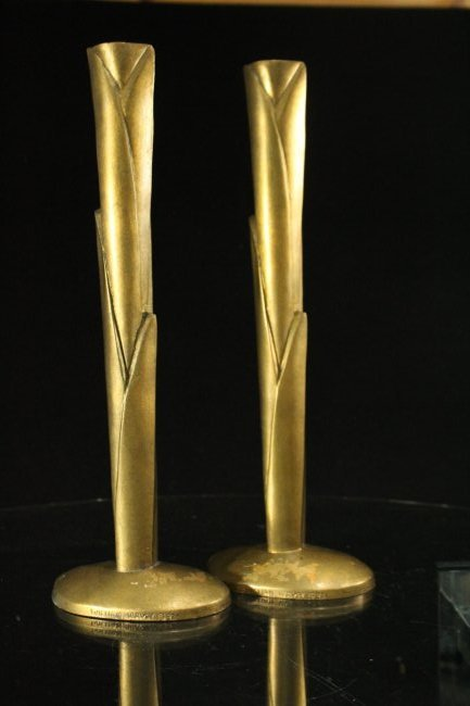 WILLIAM HARVEY Signed Bronze Modern Design Candlesticks - 7