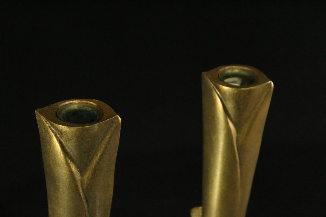 WILLIAM HARVEY Signed Bronze Modern Design Candlesticks - 8