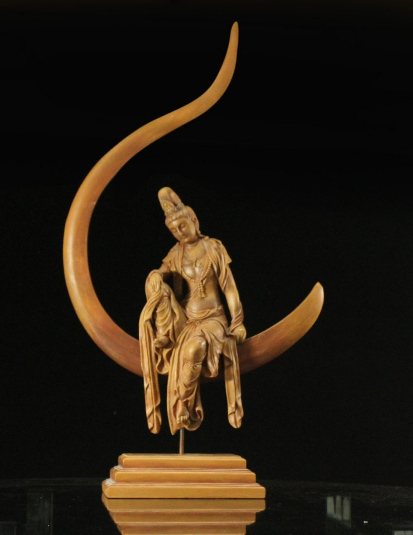 INDIAN GODDESS Sitting In a Moon Sculpture - Resin