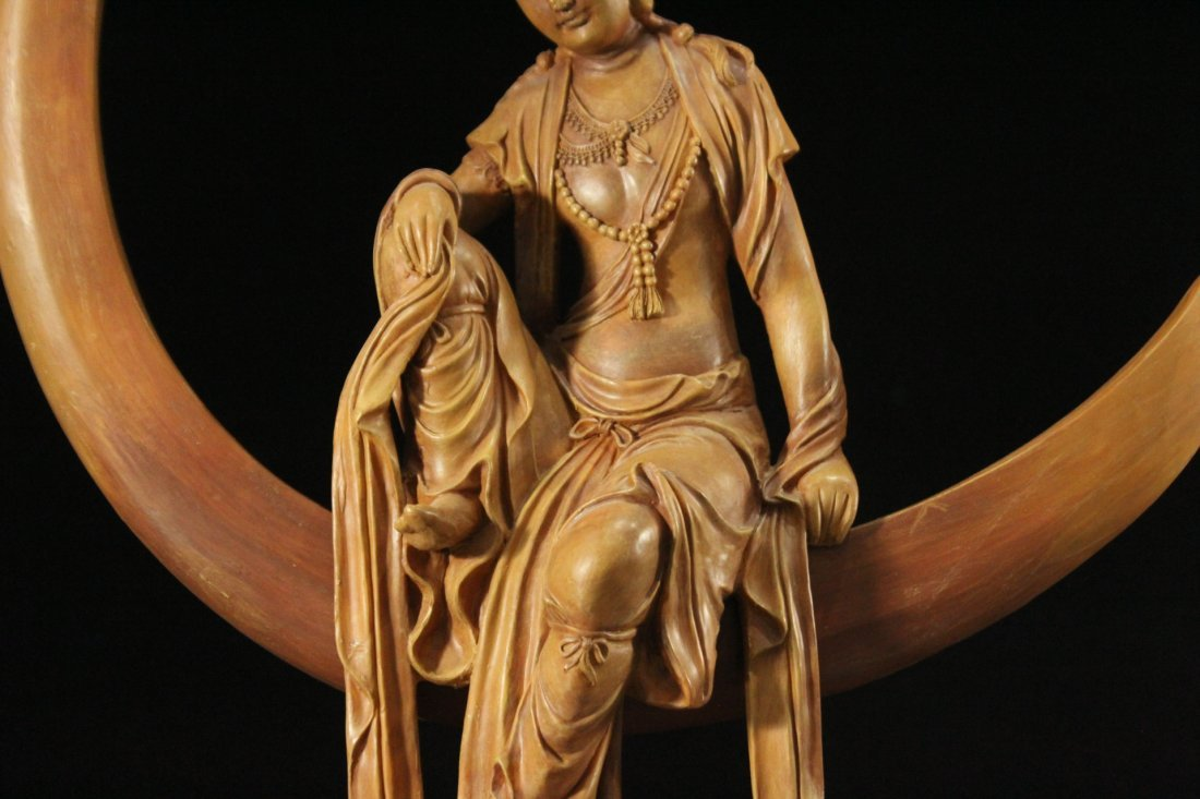 INDIAN GODDESS Sitting In a Moon Sculpture - Resin - 3