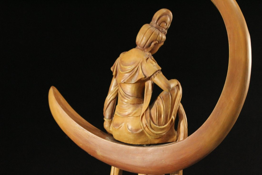 INDIAN GODDESS Sitting In a Moon Sculpture - Resin - 5