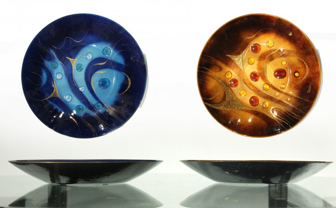 Two SASCHA B Signed Mid-Century ENAMELED COPPER BOWLS