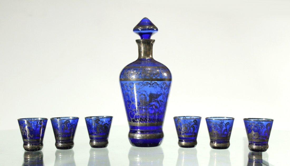 Circa 1920 Cobalt SILVER OVERLAY Decanter & 6 Cordials