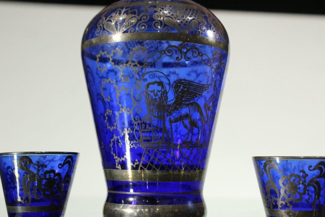 Circa 1920 Cobalt SILVER OVERLAY Decanter & 6 Cordials - 2