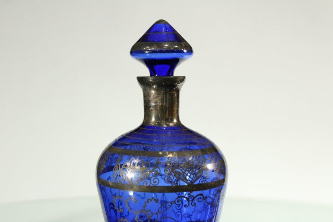 Circa 1920 Cobalt SILVER OVERLAY Decanter & 6 Cordials - 3