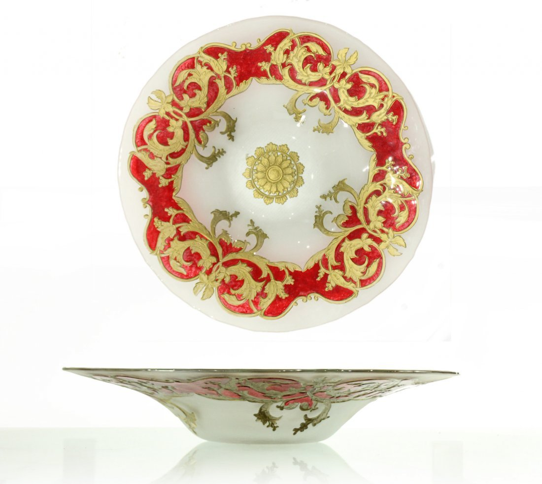 BAROQUE ITALIAN GLASS Large Ornate Center Bowl
