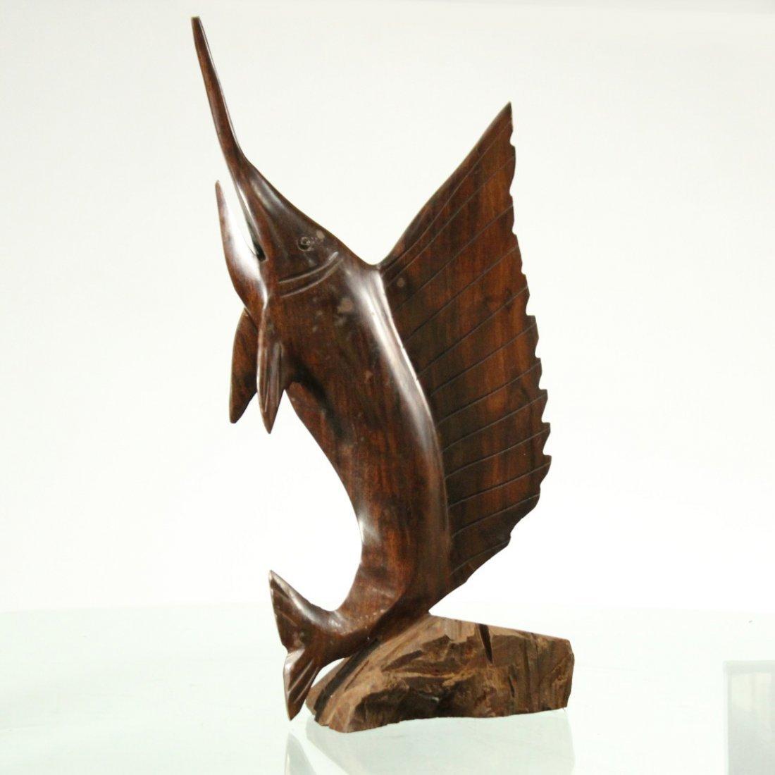 Mid-Century Modern Teak Wood Swordfish Sculpture
