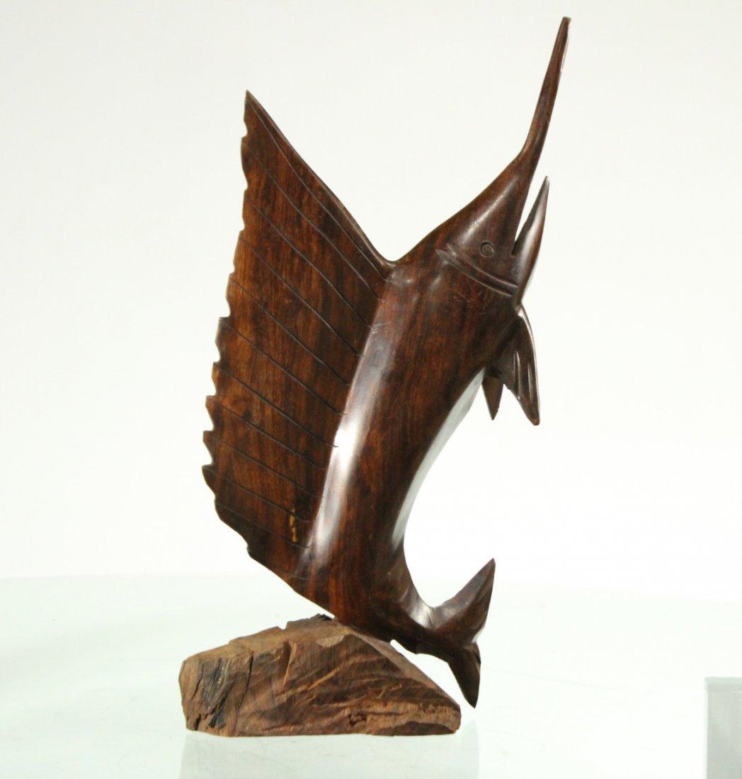 Mid-Century Modern Teak Wood Swordfish Sculpture - 2