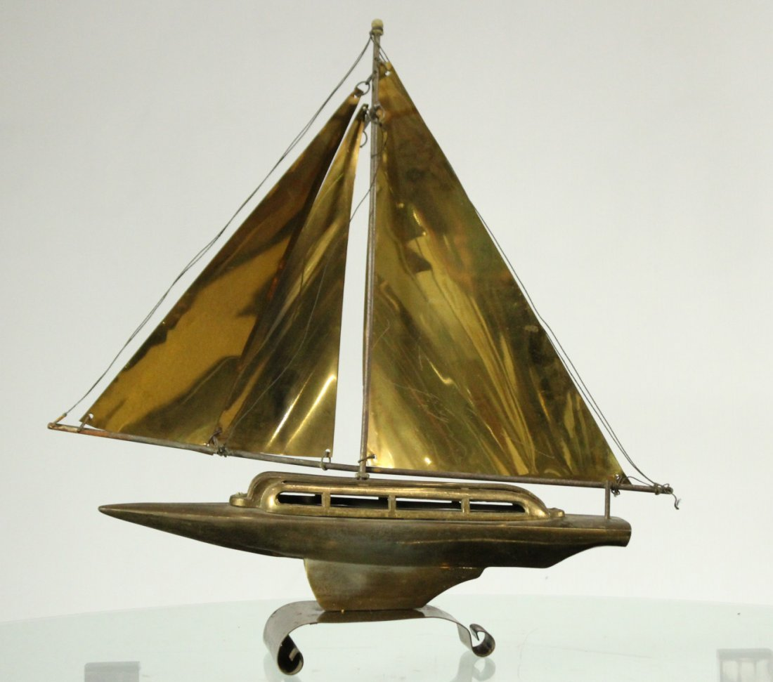 Mid-Century Modern Metal Boat Statue With Brass Sails