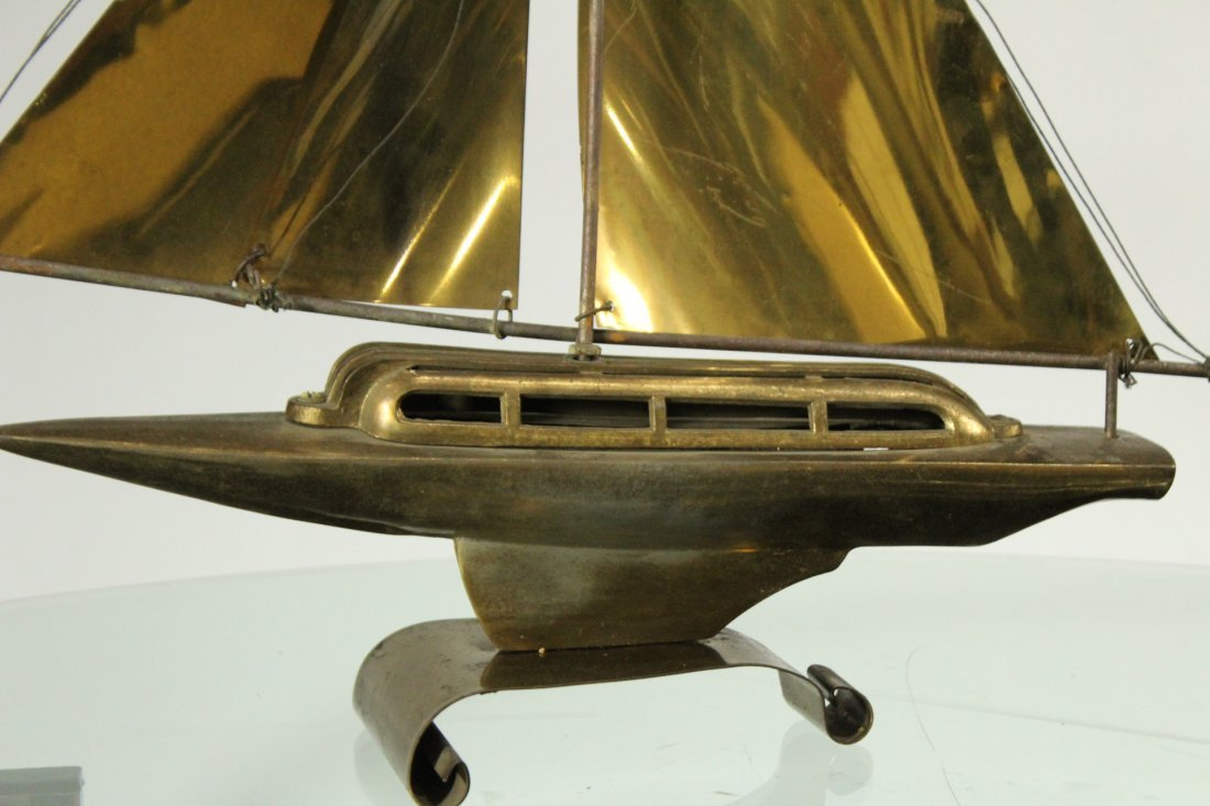 Mid-Century Modern Metal Boat Statue With Brass Sails - 2