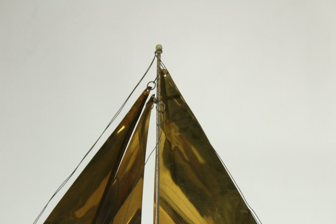 Mid-Century Modern Metal Boat Statue With Brass Sails - 3