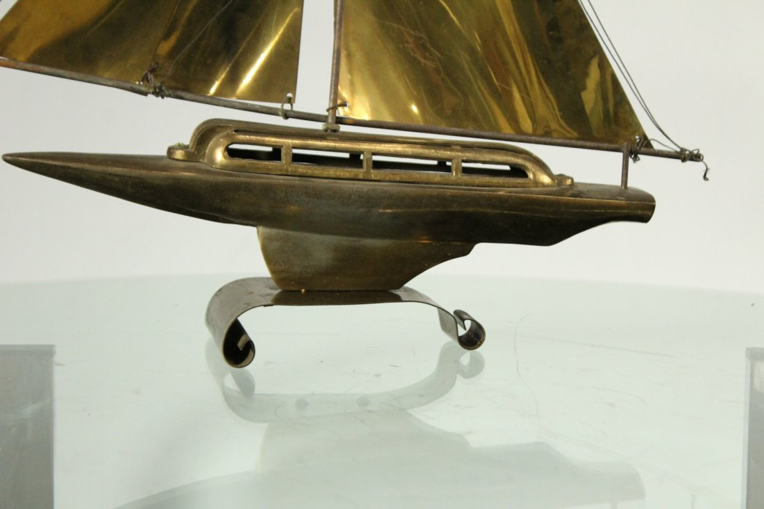 Mid-Century Modern Metal Boat Statue With Brass Sails - 4