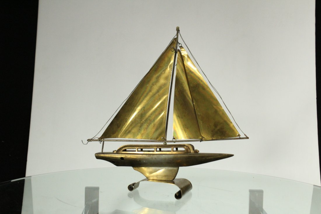 Mid-Century Modern Metal Boat Statue With Brass Sails - 5