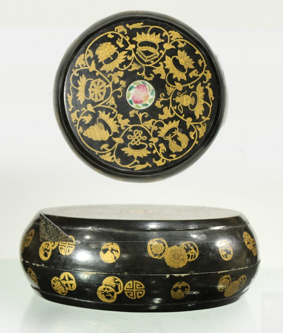Wooden Round ORIENTAL COVERED FOOD BOWL Decorated