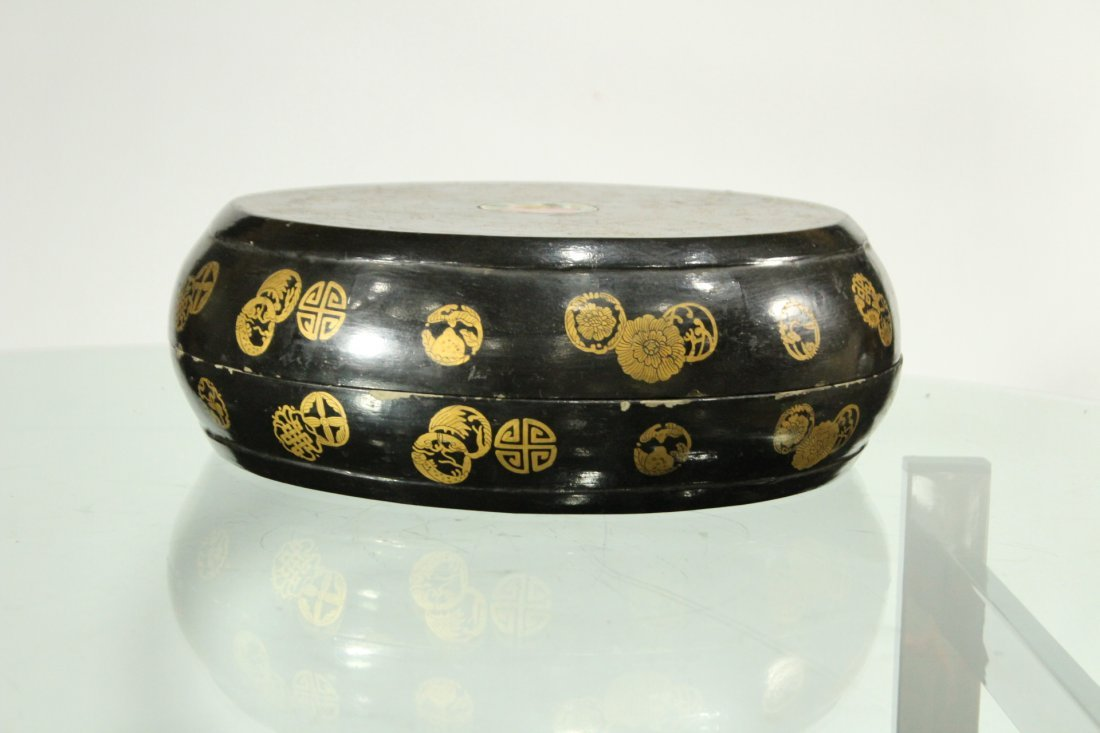 Wooden Round ORIENTAL COVERED FOOD BOWL Decorated - 2