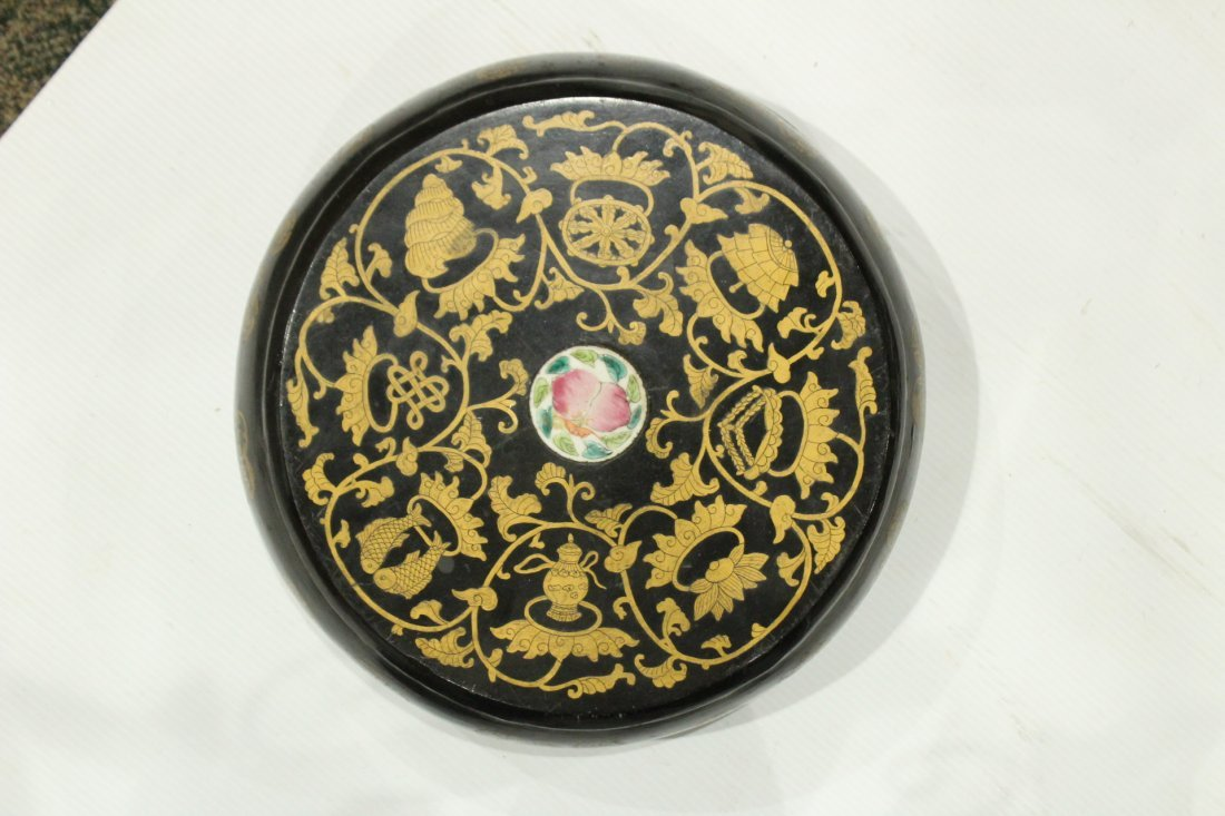 Wooden Round ORIENTAL COVERED FOOD BOWL Decorated - 4