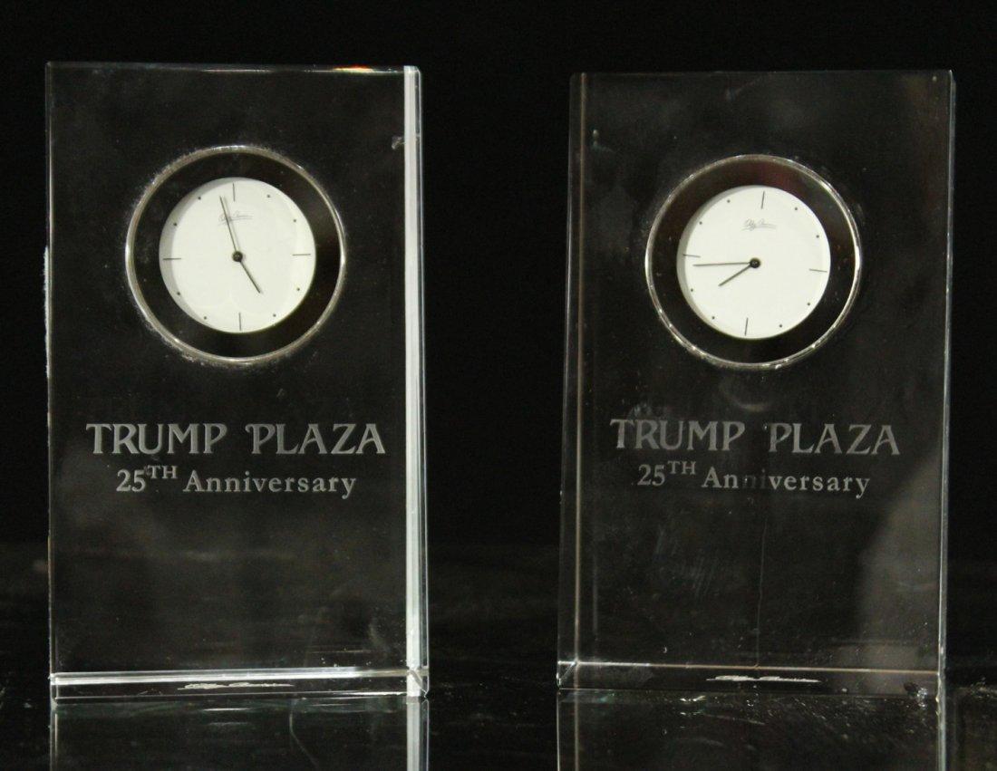 Two [2] TRUMP PLAZA Crystal Desk Clock 25th Anniversary